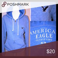 🎈SALE🎈AEO Washed out blue hoodie Large logo bird on the left side of chest. Comfy soft hoodie for men American Eagle Outfitters Shirts Sweatshirts & Hoodies