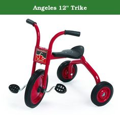 """Angeles 12"""" Trike. Comfort back support. Heavy-duty rubber handgrips. Recessed no-pinch hub design. Long-lasting and self-lubricating nylon bearings. One-piece welded crank. Non-exposed pedal hardware. Solid rubber tires on spoke less steel wheels. Durable welded steel frame. Recommended for ages 3 - 5 years. Guarantee: Five years. Warranty: Five years. Red color. Fully assembled in U.S.A.. No assembly required. Seat: 15.75 in. H. Handlebars: 25.5 in. H. Weight: 26 lbs."""