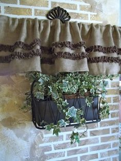 Burlap Valance with Chocolate Brown Cotton Ruffles