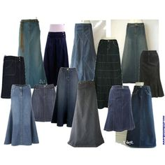 I love Denim Skirts too. These would be a start!) ---- >I love denim skirts. Modest Dresses, Modest Outfits, Skirt Outfits, Modest Fashion, Dress Skirt, Cute Skirts, Denim Skirts, Long Jean Skirts, Pretty Outfits