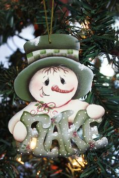 Hand Painted Snowman Ornament by TracysCrtns on Etsy, $8.50