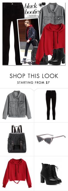 """Back to Basics: Black Booties"" by oshint ❤ liked on Polyvore featuring Bobbi Brown Cosmetics, J Brand, awesome, cool, fabulous, blackbooties and zaful"
