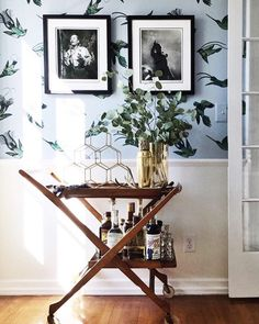 celebrating the weekend like  loving that wallpaper and bar cart situation @murphydeesign!! #ckstyleaccordingly