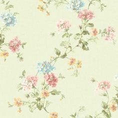Springtime Cottage Geranium Trail Floral Wallpaper - Color: Light Green - Sears