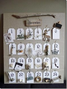 Advent Calendar with natural elements :) You could also just display the numbers and on the back side, have an activity to do.