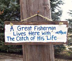 A GREAT FISHERMAN Barn Wood Sign Plaque Custom by JunkWorxxEtc,