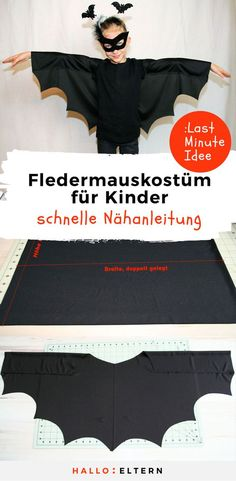 Sew bat costume - without a sewing machine! So einfach geht's You can sew this bat costume for kids without a sewing machine: Top! Bat Costume, Dress Up Costumes, Diy Costumes, Halloween Costumes, Fantasias Up, Halloween Kids, Halloween Party, Moda Outfits, Fantasias Halloween