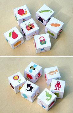 Cute Story telling printable dice - A GREAT IDEA FOR KIDS LEARNING SPANISH! Make your own pictures cubes if these don't have vocabulary you want to use.