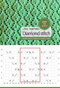 Diamond Stitch Easy To Knit Lace Knitting, Knitting Stitches, Knitting Patterns, Yarn Projects, Knitting Projects, Eyelet Lace, Slip Stitch, Diamond, Easy
