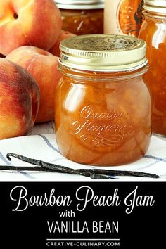 I Think Bourbon Is The Perfect Spirit To Pair With Peaches And This Bourbon Peach Jam With Vanilla Bean Is A Decadent Start To The Day Serve It On Toast Or Ice Cream Or Even Make A Cocktail With It, It's Absolutely Delicious Via Creativculinary Tostadas, Canning Peaches, Peach Jelly Recipe Canning, Preserving Peaches, Preserving Food, Pickled Peaches, Bourbon Recipes, Jelly Recipes, Sweets