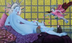 Manish Harijan - Kali - Odalisque (acrylic and multimedia on canvas, Nepal Art, Mona Lisa, Museum, Manish, Asian Art, Buddhism, Multimedia, Dinosaur Stuffed Animal, Canvas