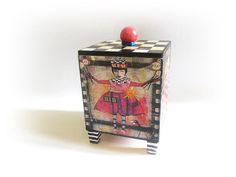 Art Jewelry Box Cube Box Birthday Gift Makeup Storage Trinket | Etsy Wedding Wine Glasses, Wedding Champagne Flutes, Etsy Shop Names, My Etsy Shop, Alice In Wonderland Book, Makeup Storage, Gifts For Teens, Trinket Boxes, Printable Art