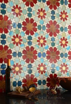 Granada Grande Glass Mosaic -- glass Tile, at The Tilery: Your New England and Cape Cod Tile Experts Moroccan Tile Bathroom, Bathroom Red, Mosaic Bathroom, Bathroom Ideas, Bathrooms, Marble Mosaic, Glass Mosaic Tiles, Bar Tile, Ravenna Mosaics