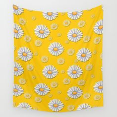 Tossed White Daisies Yellow Background Wall Tapestry