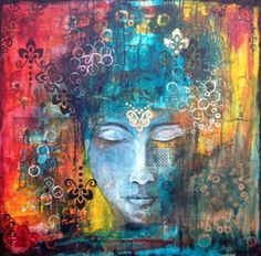 Mixed media art and mixed media art classes and workshops. Watercolor Art Paintings, Old Paintings, Collage Art Mixed Media, Buddha Art, Art Journal Pages, Portrait Art, Medium Art, Painting Inspiration, Art Images