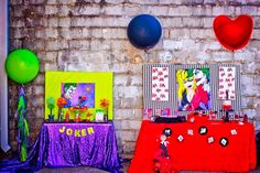 Party setup from a Joker Inspired Mad Love Birthday Party via Kara's Party Ideas | KarasPartyIdeas.com - The Place for All Things Party! (5)