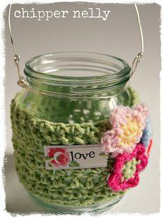 Crochet jar cosy ✿⊱╮Teresa Restegui http://www.pinterest.com/teretegui/✿⊱╮