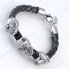 1PC Black PU Leather Crystal Skull Bracelet Wristband Men's Punk Gothic Cool