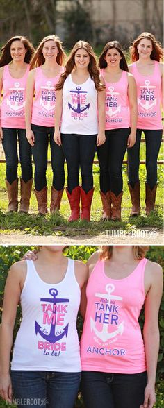 """Bride + Bridesmaid Tank Tops / Shirts """"Help Us Tank Her Before She Drops Anchor"""". #Bachelorette #party #girl #bride #bridesmaids #wedding #favors #pink"""