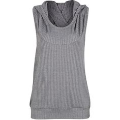 Gray Cross Back Hooded Tank (£20) ❤ liked on Polyvore featuring tops, grey tank, grey top, cross back tank top, hooded top and gray top