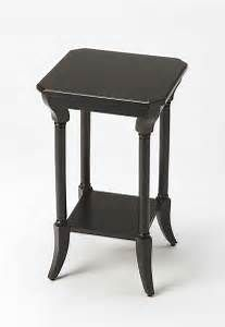 Crafted of wood with beautiful wood veneers, the petite Darla End Table from Butler Specialty Company adds wonderful vintage style to any home. Features a square tabletop with cornered edges, a lower display shelf and curved feet. Black End Tables, Black Side Table, Sofa End Tables, Side Tables, Low Shelves, Display Shelves, Shelf, Rattan Side Table, Tall Table