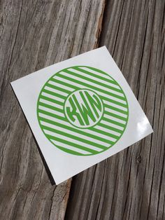 Monogram Vinyl Decal. This listing is for (1) personalized vinyl decal. You may pick the size and color. This decal is perfect for smooth surfaces!