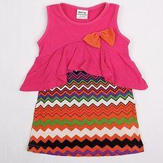 Girl's Zomer Micro-elastisch Middel Mouwloos T-shirts ( Katoen )(1720306) – EUR € 9.55