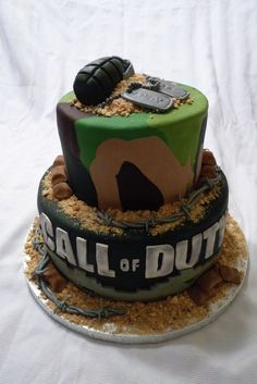 Minus the call of duty and maybe add ARMY instead. Grooms cake. Yes. . . If you marry a military man that is. ;)