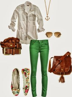 Green Pants With White Shirt And Floral Ballet Flats