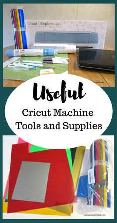 Find out what useful cricut machine tools and supplies are out there to help you get started crafting. Make your own DIY craft projects! via @pursueproject