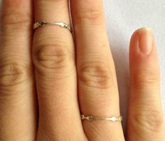 thin silver arrow bands~~~Aim For Love Rings