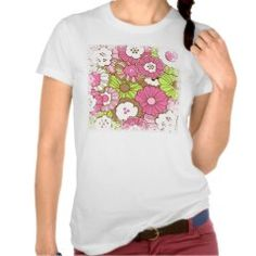 Pretty Pink Green Flowers Spring Floral Pattern Tshirt