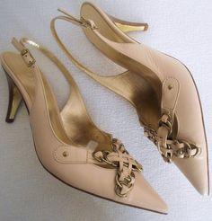 ESCADA Vintage Shoes 37.5 7.5 Tan Beige Gold Charms Leather HapaChico Couture  #ESCADA #Heels