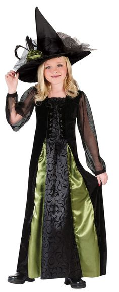 easier sleeves could insert colored panels girls witch costume - Witch Halloween Costumes For Girls