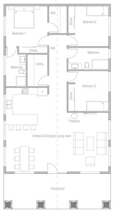 floor plan for a small house 1 150 sf with 3 bedrooms and 2 baths rh pinterest com  3 bedroom house plans with a loft