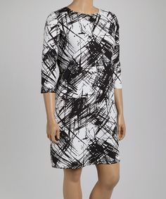 Look what I found on #zulily! Black & White Abstract Shift Dress - Plus by Tiana B #zulilyfinds