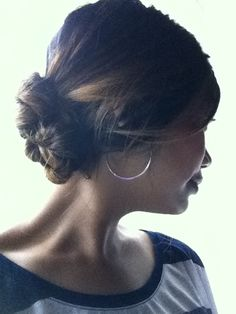 messy hair style, messy bun, goody spin pins, double chignon