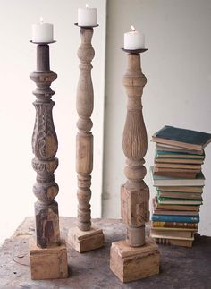 Large Repurposed Wooden Table Leg Candle Stand - April 13 2019 at Furniture Makeover, Diy Furniture, Wood Furniture Legs, Furniture Cleaning, Furniture Movers, Leather Furniture, Painting Furniture, Furniture Companies, Luxury Furniture
