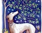 This is a signed 7x12 print from Kim Parkhurst.    A gorgeous white Greyhound in a jeweled collar stands in the garden, under a willow tree, looking up at the moon and stars.      This print is made with archival materials tested to last 200+ years under indoor lighting conditions. The print surface has a velvety matte finish which allows every detail to be clear & richly colored. It is signed by me, the original artist & will arrive with an acid-free backing.