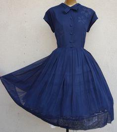Spring Navy Vintage Dress