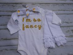I'm so fancy Gold Glitter Onepiece Onesie knot headband leg warmers set  Outfit, Baby Girl Clothes, Baby Toddler Outfit