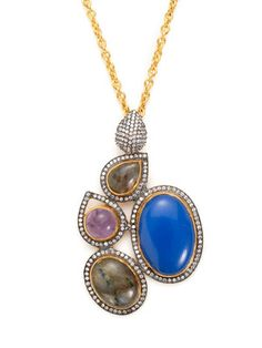 Kanupriya  Labradorite, Amethyst, & Blue Chalcedony Cuff  $118 Gilt