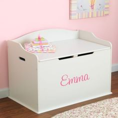 Personalized Modern Touch Toy Box With Pink Script Font - White, Emma DIBSIES Personalization Station $120