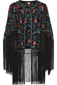 e4ad6ea3c36d0 Talitha - Zara fringed embroidered silk-ottoman cape