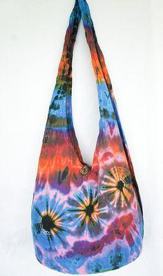 YAAMSTORE pink daisies handmade Tie die sling bag by yaamstore, $11.99
