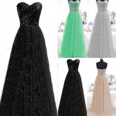 Sequins Long Bridesmaid Formal Gown Ball Party Cocktail Evening Prom Maxi Dress  #Unbranded #BallGown #Formal