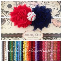 Sale Baseball Baby Headband ANY TEAM Shabby Chic Flowers Baseballl Rhinestone Embellishment Custom Sport College School Team MLB
