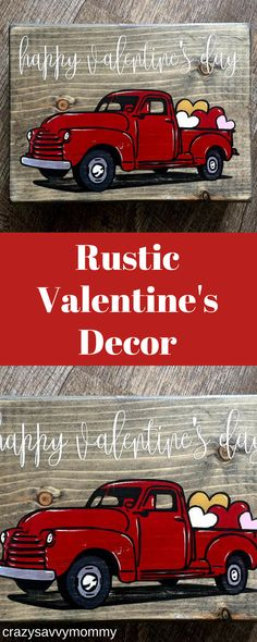 RUSTIC Valentine's Day Decor. SUPER CUTE red truck filled with hearts makes the perfect shelf or mantle Valentine's Day decor for the home. Handmade and hand painted. Click the link to get it NOW at Etsy.com! #valentinesdaydecor #valentinesideas #homedecor #diycrafts #ad