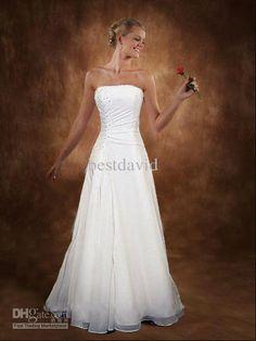 Wholesale White Strapless Wedding Dresses Monroe Wedding Gown Corset A-line Chapel Train Free Bolero Jacket., Free shipping, $128.8-176.96/Piece | DHgate
