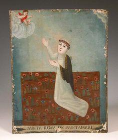santa rosa...mexican. Colonial Art, Spanish Colonial, La Madone, Pueblo Indians, Art Populaire, Les Religions, Naive Art, Mexican Folk Art, Sacred Art